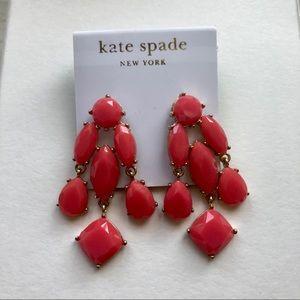 Kate Spade Faceted Crystal Earrings Red